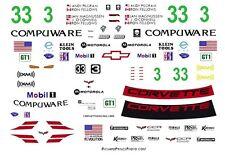 #3 or 33 Ron Fellows 2007 Compuware Corvette 1/43rd Scale Slot Car Decals