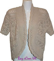 New Ladies Crochet Knitted Shrug Bolero Sweater Top UK Plus Size 16 to 32
