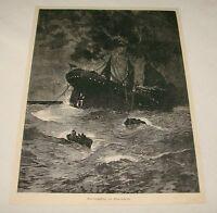 1895 magazine engraving ~ FOUNDERING IN MID-OCEAN