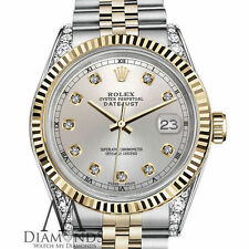 Rolex 26mm Datejust 18KGold Stainless Steel TwoTone Silver Diamond Numbers & Lug