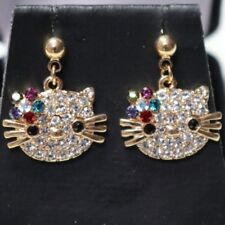 Hello Kitty Cat Multi-Color Topaz Paved CZ Stud Earrings 14K Rose Gold Plated