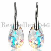 Aurora Tears Drop Dangle Made with Swarovski Element Crystals Women Ear Earrings