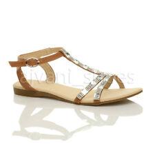Sandalias y chanclas de mujer planos marrón, talla 38