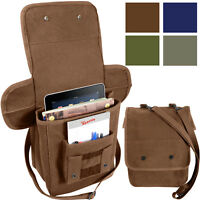 Heavy Canvas Tech Bag Military Map Case Shoulder Pack Tablet Carry Pouch
