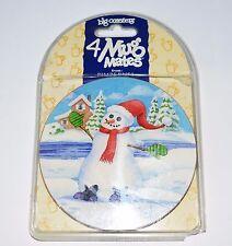 Pimpernel Coasters Mug Mates Cork Back Snowman and Penguin 2 of Each = Set of 4