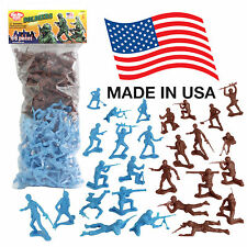 TimMee Processed Plastic Army Men: 96 Cyan vs Rust Tim Mee Toy Soldier Figures