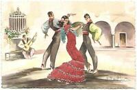 VINTAGE BEAUTIFUL EMBROIDERED SPANISH LADY & MEN FLAMENCO DANCERS POSTCARD