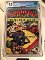 Headline Comics #16 CGC 5.5 CR-OW Prize 1945 Origin, 1st Atomic Man Kinstler art