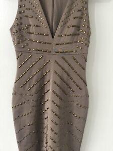 CELEB BOUTIQUE Beige Stud Plunge Bodycon Dress XS House of Celeb UK 6-8 INSTA