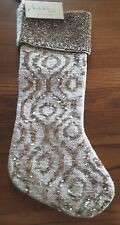 """New Nicole Miller Cream w/ Gold Sequence & Beads 22"""" Christmas Stocking India"""