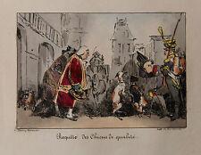 1828 Monnier Lithographie couleurs Béranger Chiens de qualité soldats humour