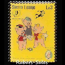 Three Little Pigs & Wolf, Mark Twain - Sierra Leone Le3 Disney Postage Stamp Pin