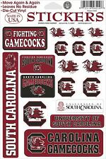 South Carolina Gamecocks Vinyl Die-Cut Sticker Decals - 18 per sheet