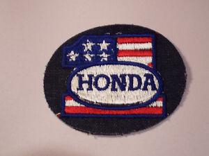 "Vtg Honda Motorcycle USA Flag Denim Jacket Patch 3.5"" x 3"" 1970's Japanese"