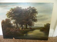 Vintage oil painting of children by the river