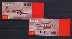 ICELAND 2001 VINTAGE AIRPLANES ISSUE MNH STAMPS IN 2 BOOKLETS