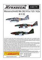 Xtra Decals 1/48 MESSERSCHMITT Me-262 A1a, U3, A2a, & S-92 Jet Fighters