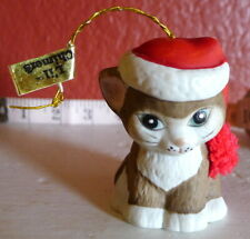 Lil Charmers Christmas Kitty Cat Bell Ornament 1980's