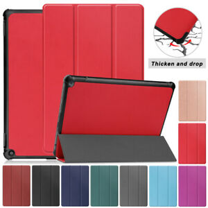 """For Amazon fire HD 10.1""""/10.1"""" Plus 2021 Folding Folio Case Leather Shell Cover"""
