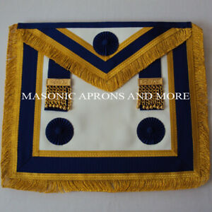 Craft Provincial Full Dress Apron with blue Rosettes(Lambskin)(MA4028)