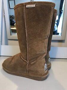 Bear Paw Tall Emma Boots Size 8 Sheepskin, Wool, Suede