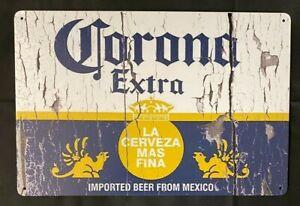 Corona Beer Vintage Antique Collectible Tin Metal Sign Wall Decor