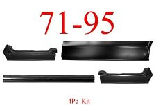 4Pc 71 95 Chevy Van Rocker Panel Set, GMC G10 G20 G30 Rust Repair Left & Right