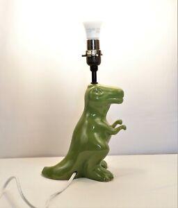 T REX Dinosaur Table Lamp Green CERAMIC Jurassic Decor Lampshade Light        D2