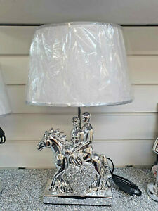 Crushed Diamond Lamp Horse And Couple With Shade Romany Style