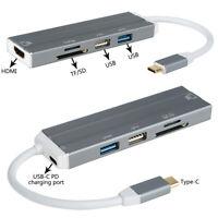 6 in 1 USB 3.1 Hub Dual Type-C Multiport Card Reader Adapter 4K HDMI for MacBook