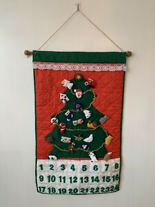 Vintage Handmade Felt Advent Calendar Wall Hanging Christmas