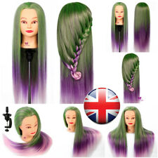 """100% 28"""" Synthetic Hair Cosmetology Salon Training Head Mannequin With Clamp"""