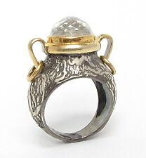 925 Silver & 18K Gold - Vintage Antique Faceted Topaz 2-Tone Ring 12g - Sz 8
