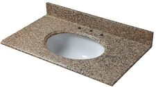 Granite Vanity Top in Montesol 25 in. W with White Bowl and 8 in. Faucet Spread