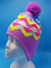 Winter Hat Fleece Thinsulate Knit Lavendar Multi-color Children Toddler Pom-Pom