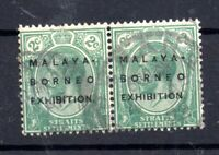 Malaya Straits 1922 2c Borneo Exhibition fine used pair Cat Val £180 WS15841