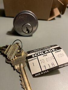 Schlage Cylinder Item 30 001C Housing Plus 2 Keys Satin Chrome Finish? 1 1/8