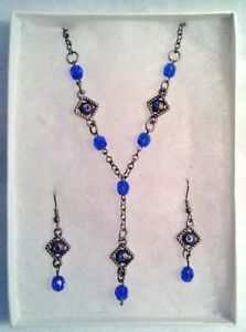 SAPPHIRE BLUE CZECH CRYSTAL NECKLACE AND PIERCED EARRING SET IN ANTIQUE SILVER