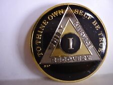 AA BSP Black Gold 1 Year Coin Tri-Plate Alcoholics Anonymous Medallion Top Grade