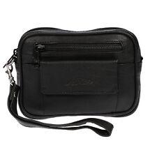 Echt Leder Handgelenktasche Gürteltasche Tasche Herrentasche Schwarz Damentasche