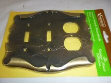 NOS Vtg Amerock Carriage House SWITCH Duplex Plate Cover Combo Antique Brass