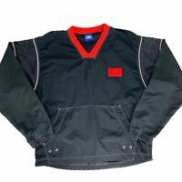 Umbro Mens Large Black Red Windbreaker Vtg 90s Pullover Nylon Pocket Side-Zip