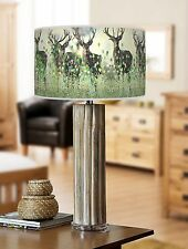 68cm Large Bamboo Wood Table Lamp with Giclee Print lampshade Deer Stag 854