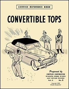 Chrysler Convertible Top Manual 1949 1950 1951 1952 Imperial New Yorker Windsor
