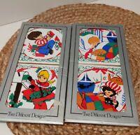 Vintage Jasco 80s Christmas Ceramic Tile Trivet Coasters Children Set of 4