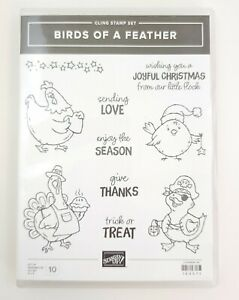 Stampin Up! Birds of a Feather Cling Stamps Holiday Chickens & Phrases UNUSED