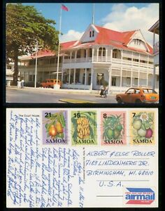Mayfairstamps Samoa 1987 Court house to US Airmail Postcard wwm73073