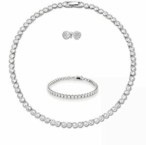 KIDS Tennis Necklace Earrings Rhodium Bridal Bracelet Set Swarovski Inspired 3pc