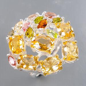 Design Handmade Citrine Ring Silver 925 Sterling  Size 8 /R178918