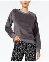 Alfani Womens Fuzzy Pajama Top Urban Grey
